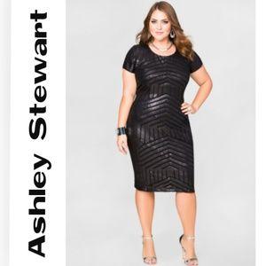 Ashley Stewart Tonal Sequin Sheath Dress - 14/16